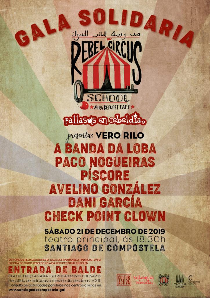 Gala Rebelde Solidaria de Pallasos en Rebeldía en favor da escola de circo de Aida Refuge Camp en Belén